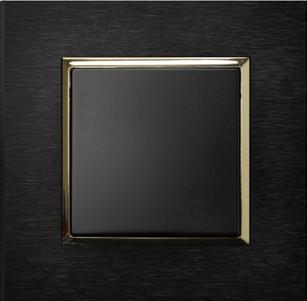 Ospel Aria czarny metalik w ramce Antracyt Szczotkowany
