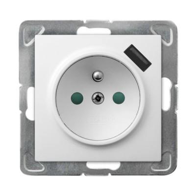 Gniazdo pojedyncze z uziemieniem z przesłonami torów prądowych, z ładowarką USB