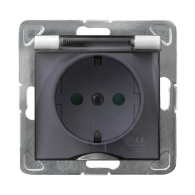 Gniazdo bryzgoszczelne z uziemieniem schuko IP-44 z przesłonami torów prądowych wieczko przezroczyste