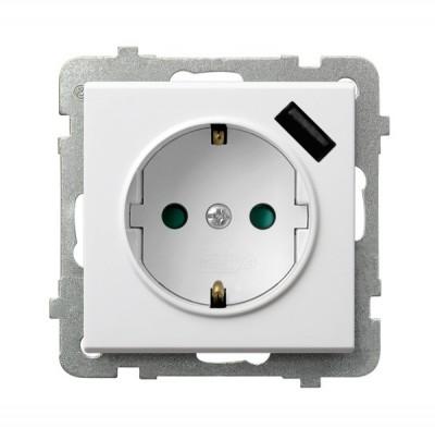 Gniazdo pojedyncze z uziemieniem schuko z przesłonami torów prądowych, z ładowarką USB